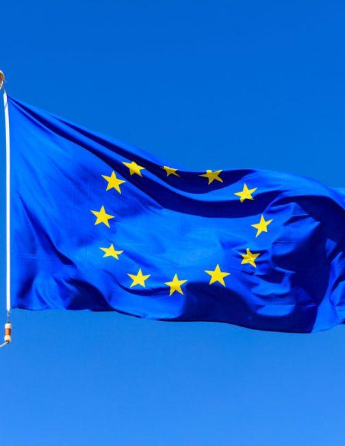 eu-flag-european-union-flag-on-a-pole-waving-on-bl-P5QSR3A